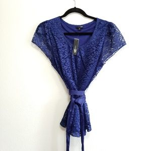 Tops - East 5th Blue Lace Blouse, Ribbon Tie